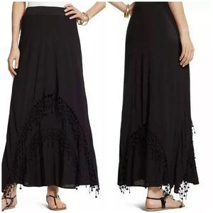 Chicos Lace Trim Lainey Maxi Skirt XL Black NEW